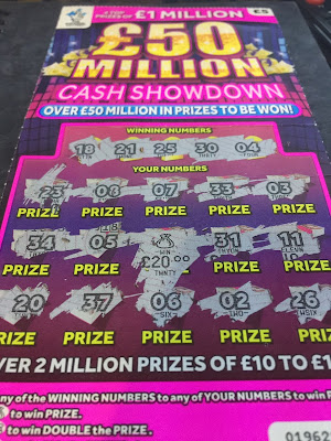 £5 £50Million Cash Showdown Scratchcard £20 Win