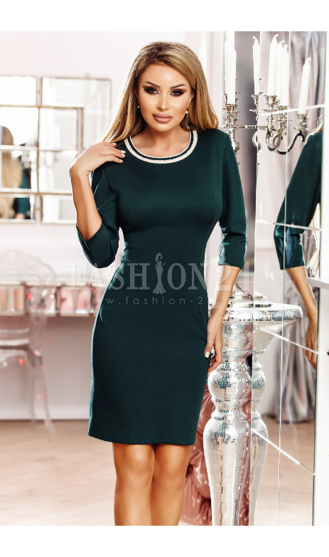 Rochie midi eleganta, verde, cu decolteul rotund, manecile trei sferturi si inchidere prin fermoar la spate,