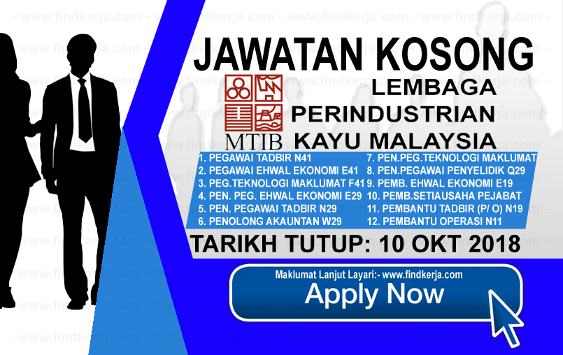 Jawatan Kerja Kosong MTIB - Lembaga Perindustrian Kayu Malaysia logo www.ohjob.info www.findkerja.com oktober 2018