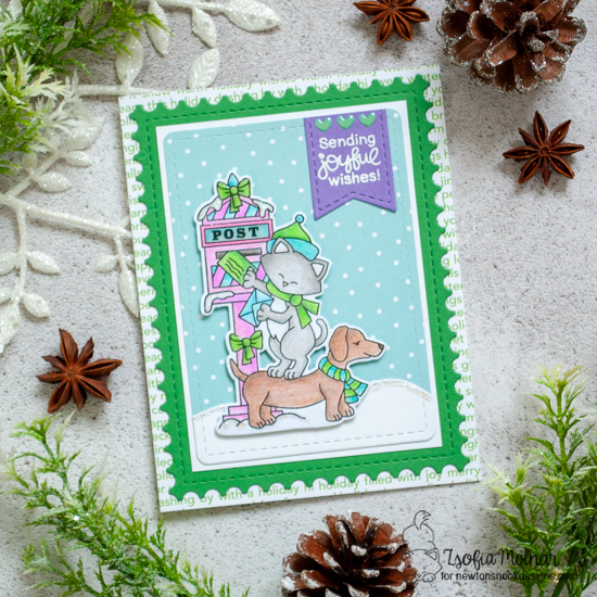 Cat and Dog mailing holiday letters card by Zsofia Molnar | Holiday Post Stamp Set, Land Borders Die Set and Framework Die Set by Newton's Nook Designs #newtonsnook #handmade