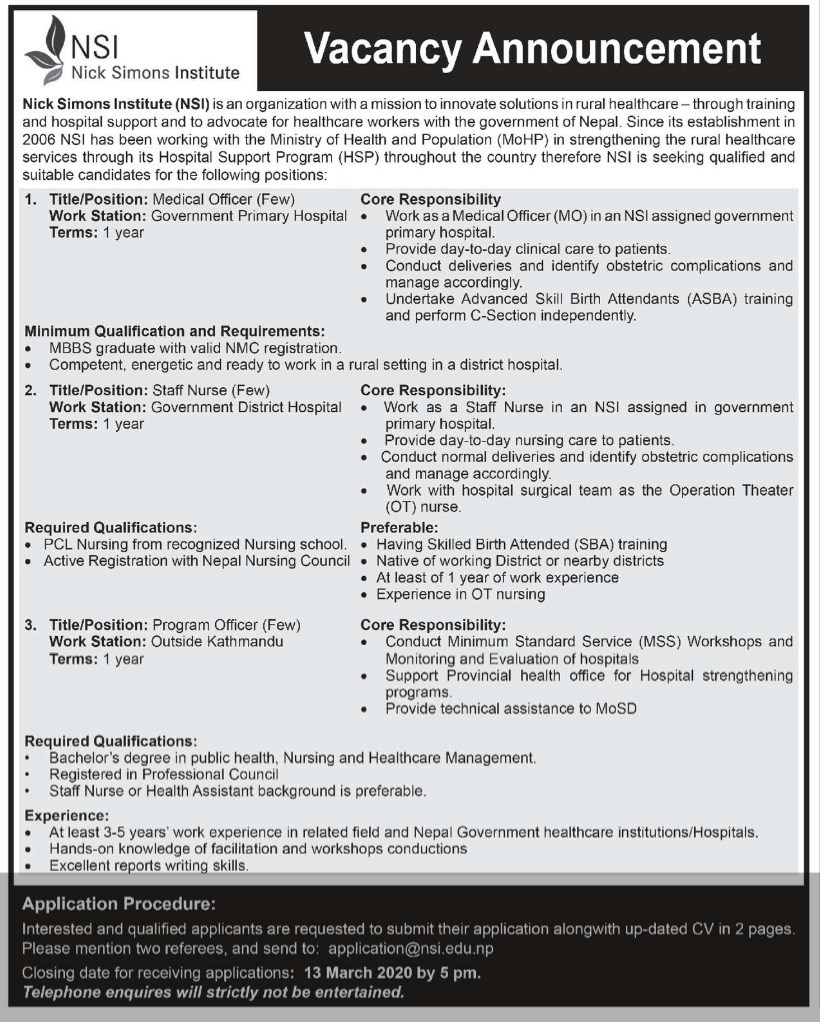 Nick Simons Institute vacancies for Medical officer, Staff Nurse and Program Officer