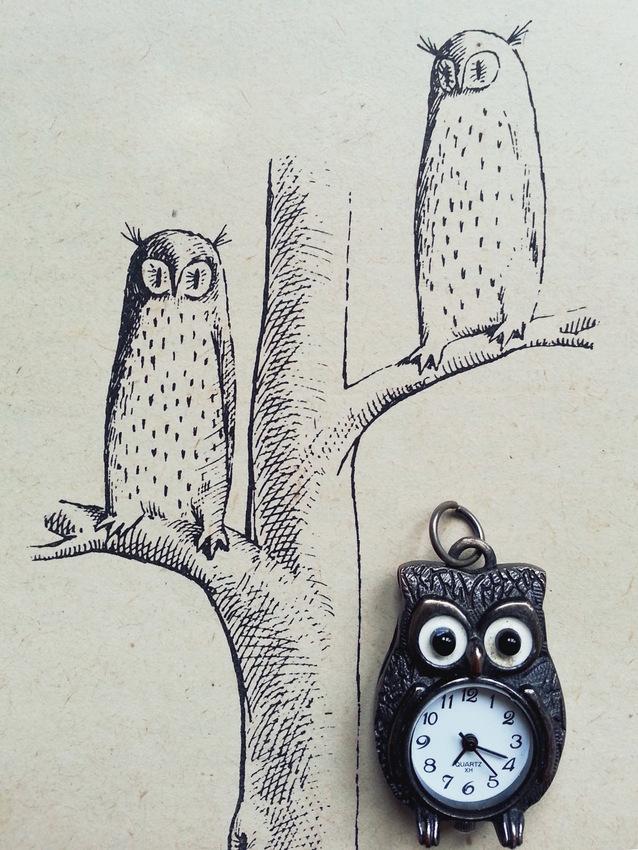 """Wisiorek-zegarek z sówką na tle książki Juliusza Verne'a """"Wyprawa do wnętrza Ziemi"""" z 1979 roku, ilustracje: Daniel Mróz."""