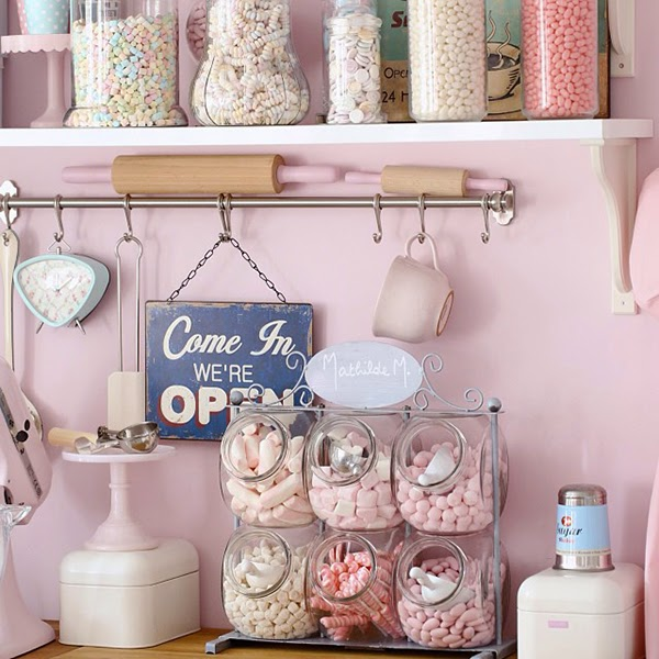 A perfecttly pastel pink kitchen and collection of candy - Retro Pastel Kitchen Colors That'll Make You Squeal!
