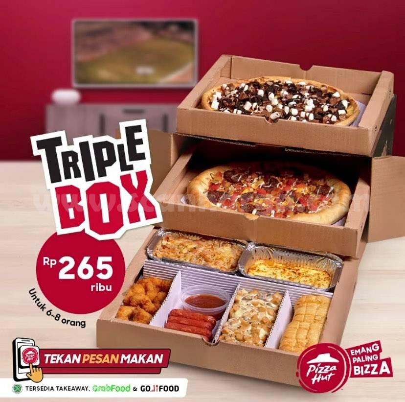Pizza HUT Promo Triple Box hanya Rp 265Rb untuk 6 - 8 Orang