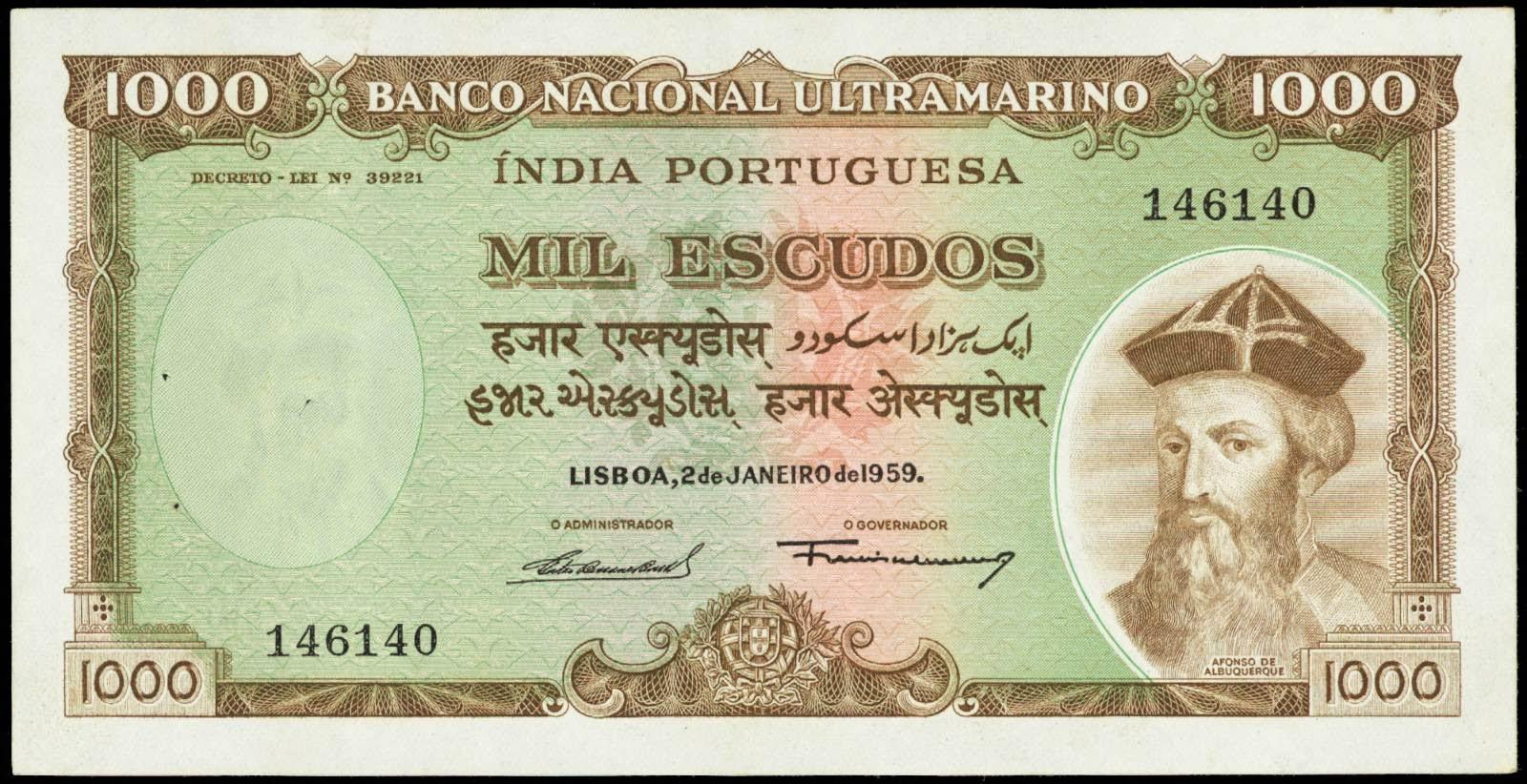 Portuguese India banknotes 1000 Escudos note 1959 Banco Nacional Ultramarino Albuquerque