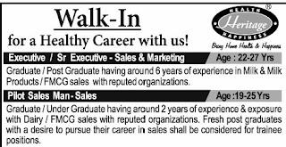 Any Graduate BA, B.Com, B.Sc, BCA Job Vacancy Walk-in for Sales Executive in Heritage Foods Ltd Bangalore