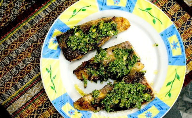 Pan Fried Fish with Pesto Sauce