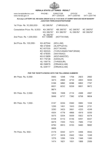 KERALA LOTTERY OFFICIAL RESULT KARUNYA KR-430 DATED 2020.01.11 PART-1