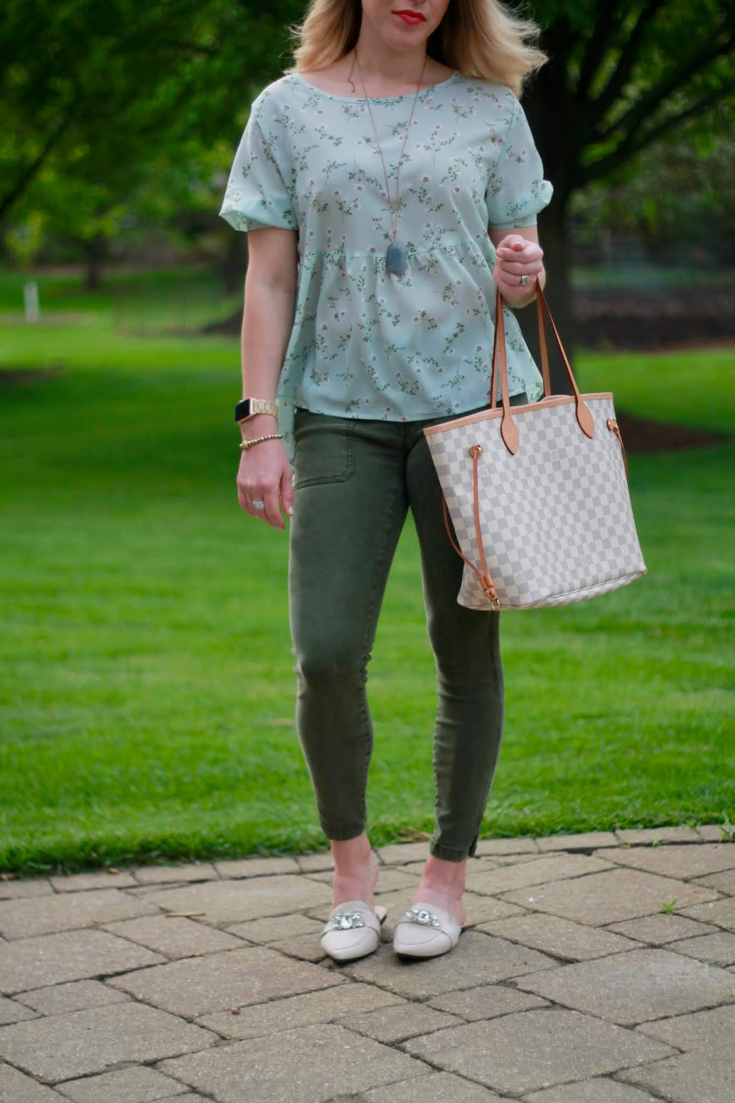light blue floral blouse, olive pants, LV azure neverfull, jeweled nude mules, spring outfit with olive pants