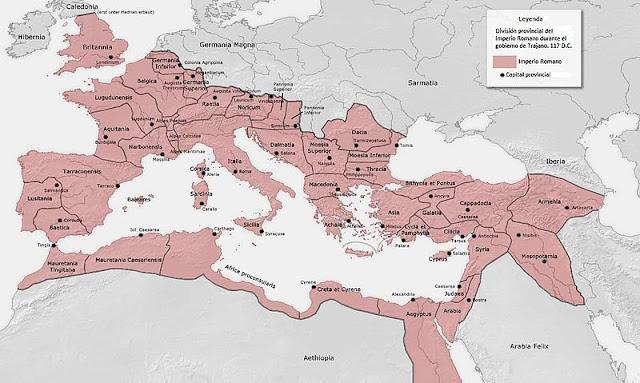Mapa del imperio romano bajo Trajano en el 117 d. C.