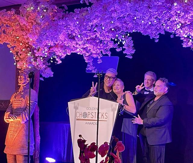The Golden Chopsticks Awards 2021 madmumof7 on stage with Gok Wan, Steven Wallis & Matt Bushby
