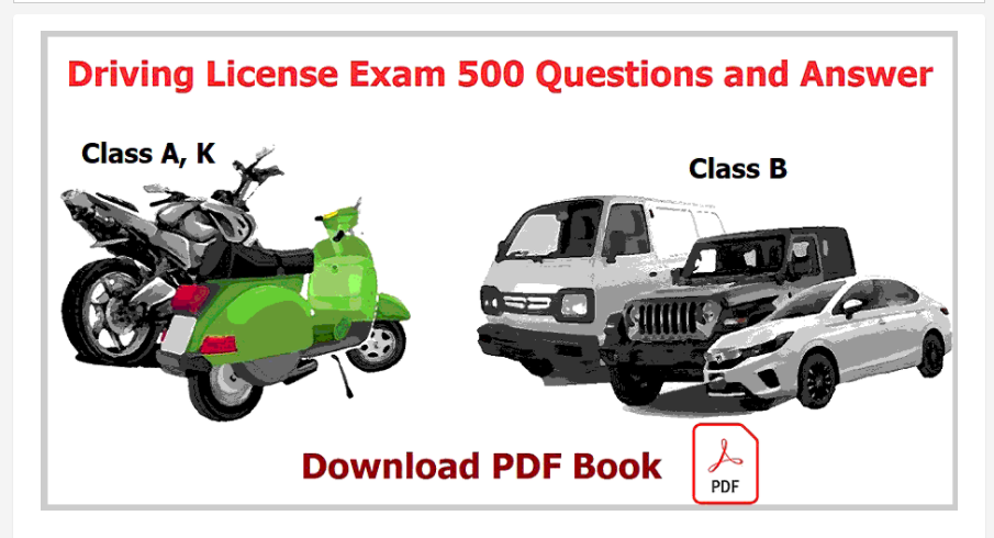 Department of Transport Management 500 Questions and Answer collection for Driving License Exam