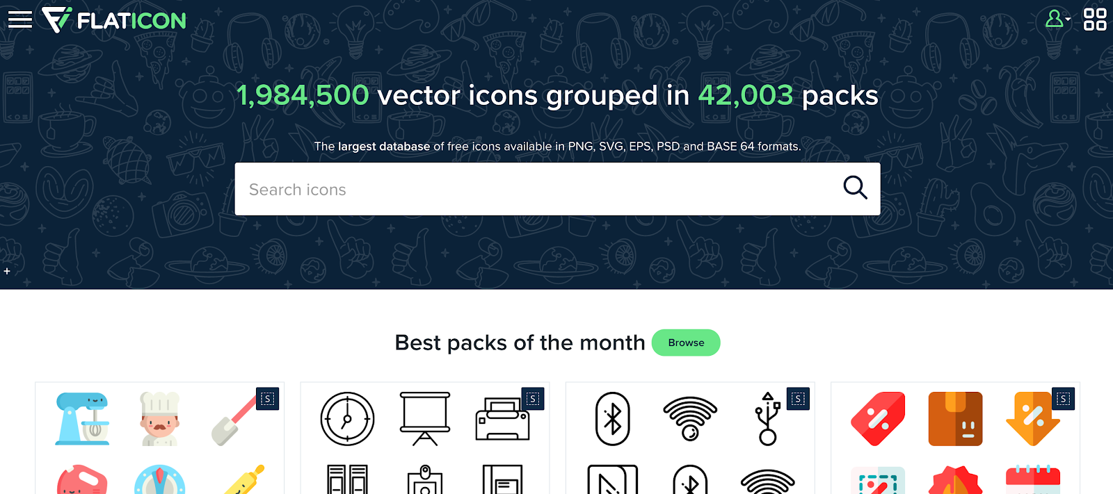 Flaticon is a huge online repository of icons created by the founders of Freepik