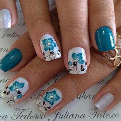 unhas decoradas azuis 9