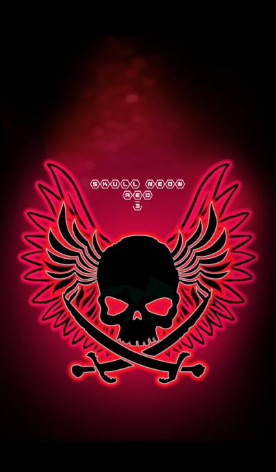 SKULL NEON RED 3