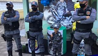 Polícia Militar do Maranhão participa de festa de aniversário de criança, em São Luis