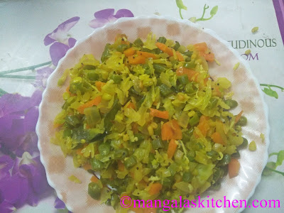 Cabbage Beans Carrot Poriyal | Kalyana Veetu Kadamba Poriyal