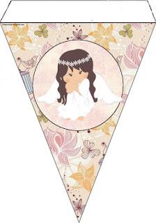 Angel in Vintage Garden Free Printable Bunting.