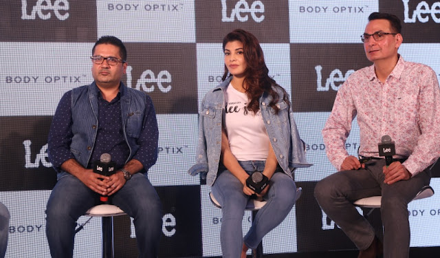 (LtoR) Mr. Sharad Wali, LEE India GM, Jacqueline Fernandes and Mr Steve Zades, VP of VFC