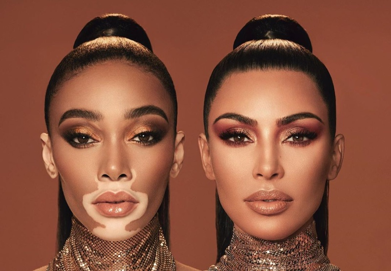 Kim Kardashian & Winnie Harlow Stun in KKW Beauty Collab