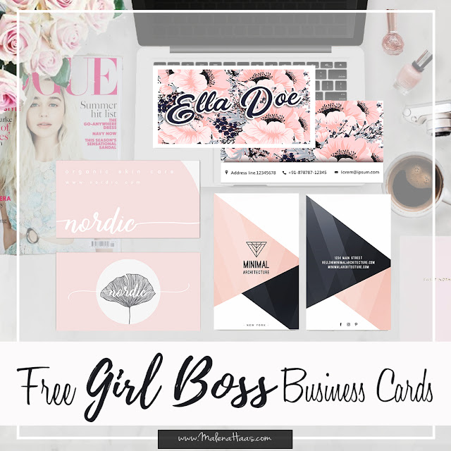 Free Girl Boss Business Card - Printable Pink, white, black and navy color