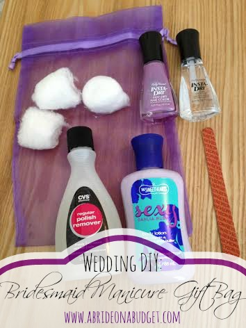 Need a little gift for your bridesmaids? These DIY bridesmaids manicure gift bags by www.abrideonabudget.com are just perfect.