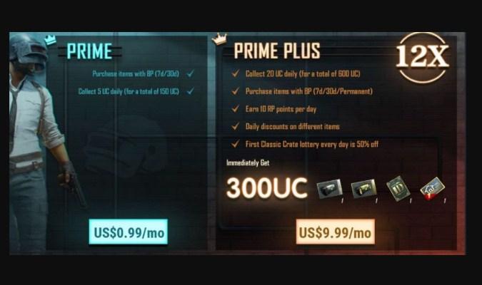 Fitur Berlangganan Prime and Prime Plus PUBG Mobile