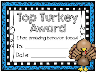 Top Turkey award for November classroom management that goes perfect with the Thanksgiving behavior chart on this post - read this!