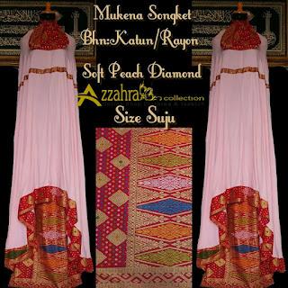 Mukena Songket TERBARU Prada Bali Paling Anyar peach diamond