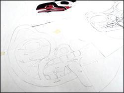 Brenda Wilbee's sketch of bear face done in formline drawing