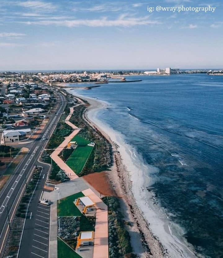 a bird's eye view of Geraldton coast in Western Australia
