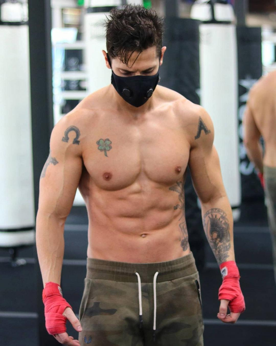fit-muscular-shirtless-gym-guy-tyler-james-strong-young-warrior-body-tatoos-face-mask