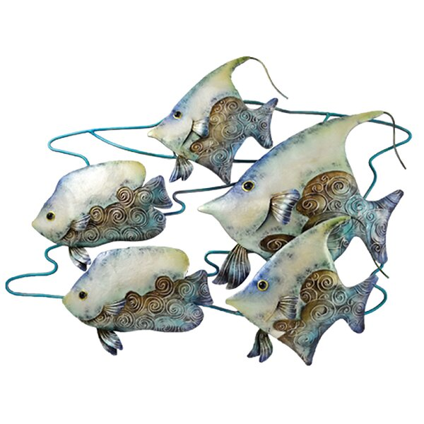 Fish School Capiz Shell and Metal Wall Decor