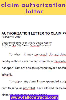 sample authorization letter to claim passport