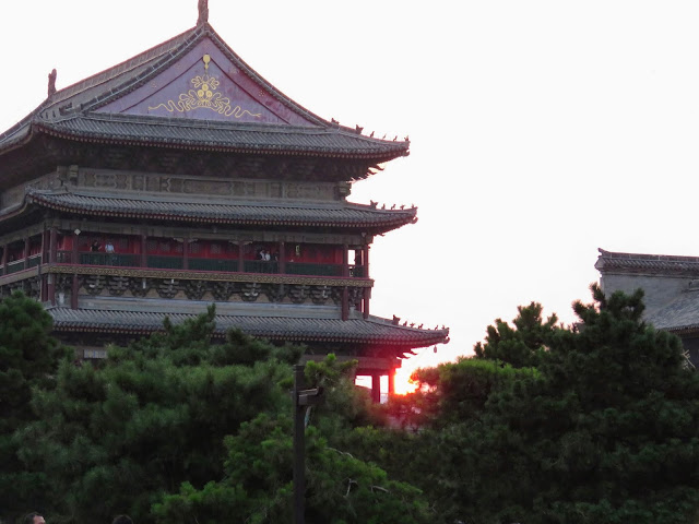 Sunset over the drum tower in Xi'an China