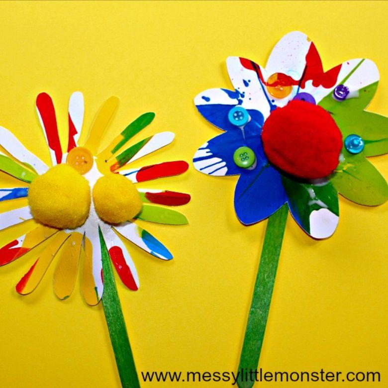 rainbow spin art flowers craft