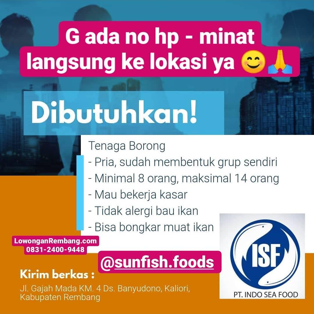 Lowongan Kerja Posisi Tenaga Borong PT Indo Sea Food Rembang Tanpa Syarat Pendidikan Dan Umur Segera Lamar Keburu Tutup