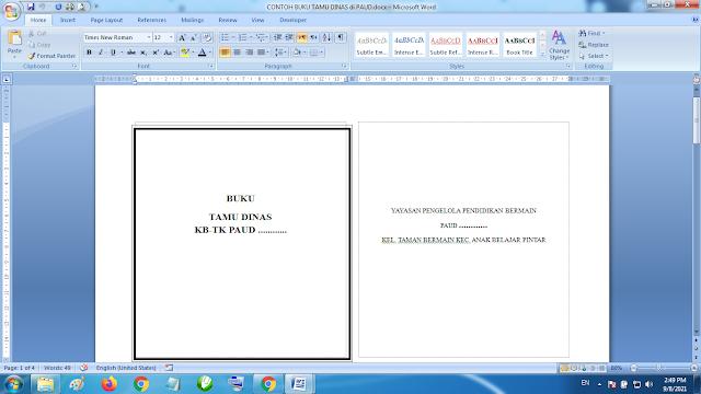 Download Contoh Buku Tamu Dinas/Buku Tamu Khusus / Instansi Paud TK KB RA