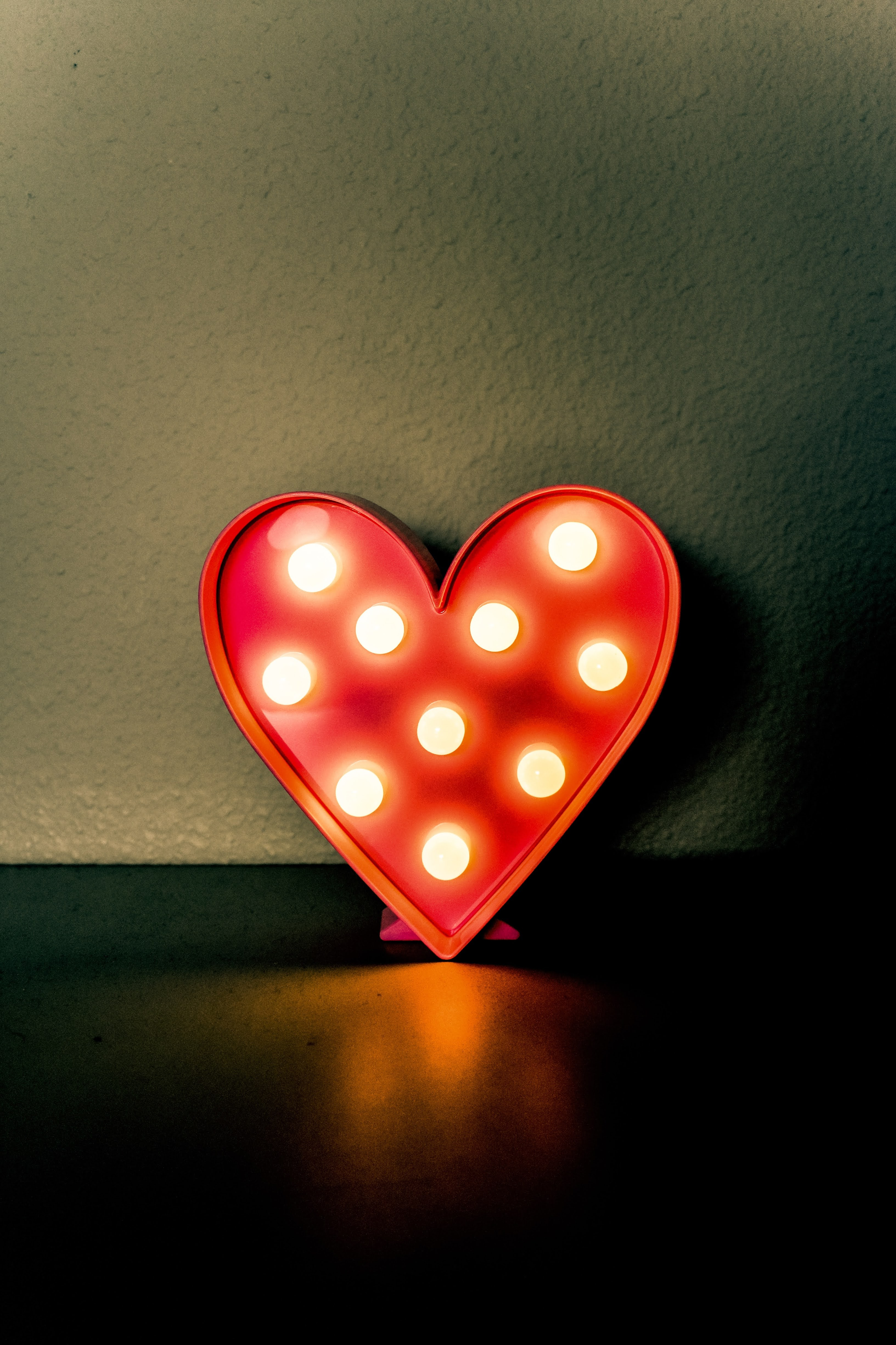 Red and White LED Lighted Heart Decor | Photo by Izumi Lacorte via Unsplash