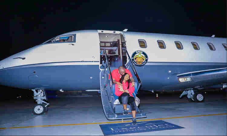 AIR OBO: First photos of Davido's actual private jet emerges online