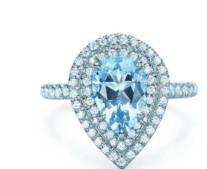 043dbcd66 Aquamarine and Diamond Ring-Shimmering diamonds surround a vibrant  aquamarine set in platinum. Pear-shaped aquamarine, carat weight 1.25;  round brilliant ...
