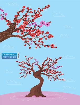 nen-do-hoa-cay-hoa-no-sac-hong-va-do-pink-flowers-vector-6299