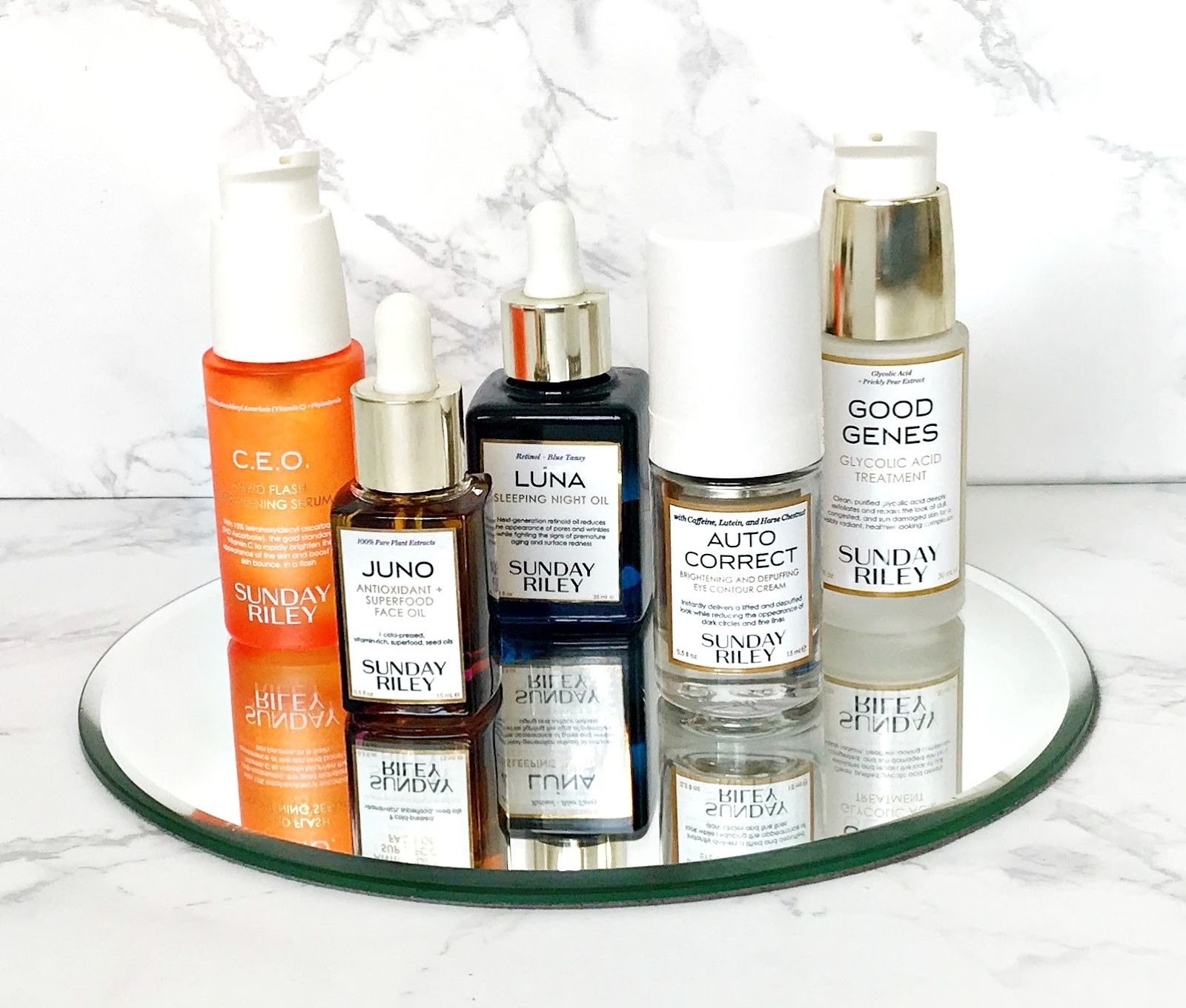 Five Favourites, Sunday Riley, Sunday Riley Juno Oil, Sunday Riley Luna, Sunday Riley CEO Rapid Flash Brightening Serum, Sunday Riley Good Genes Lactic Acid Vs Glycolic Acid,