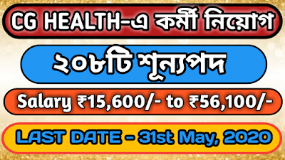 CG Health Recruitment 2020—Apply Online For 208 Medical Officer Posts