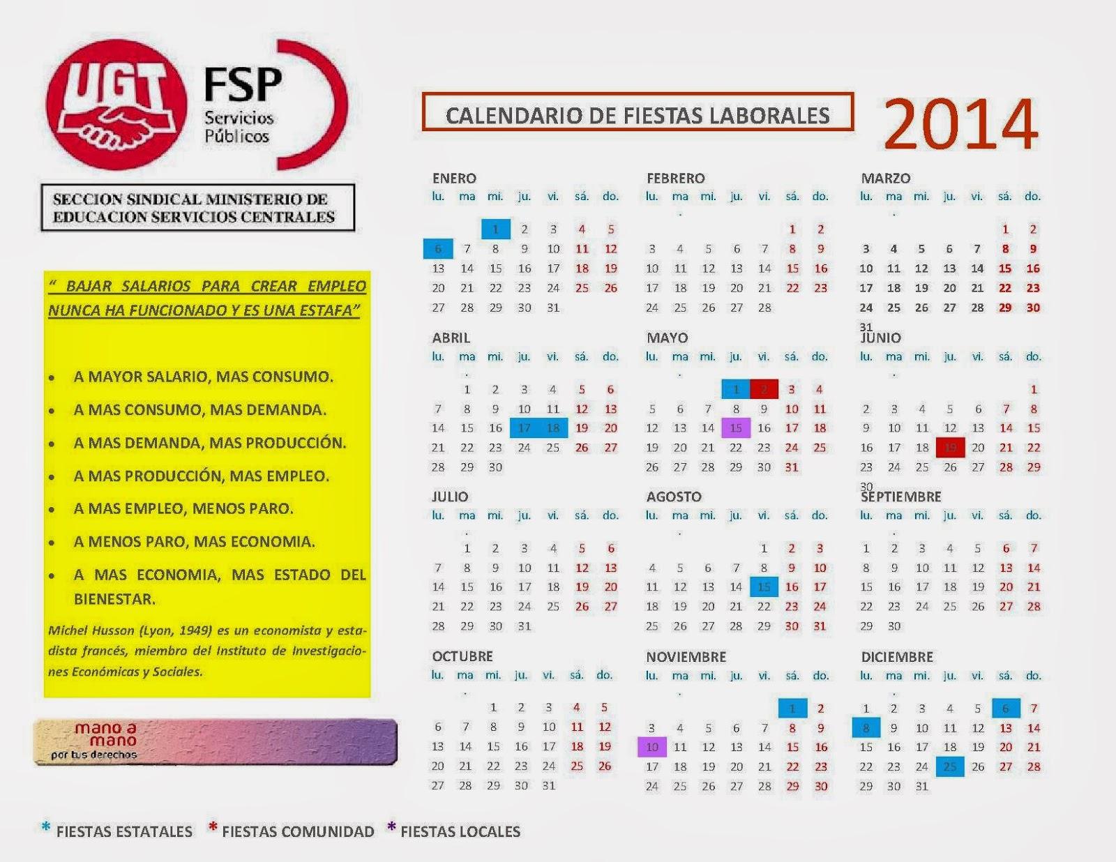 Seccion sindical ugt educacion calendario de fiestas en for Calendario eventos madrid