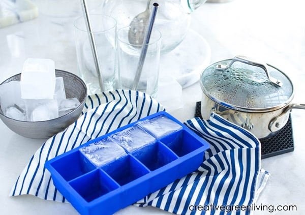 Supplies that you need to make iced tea - ice, glasses, straws, pot, tea