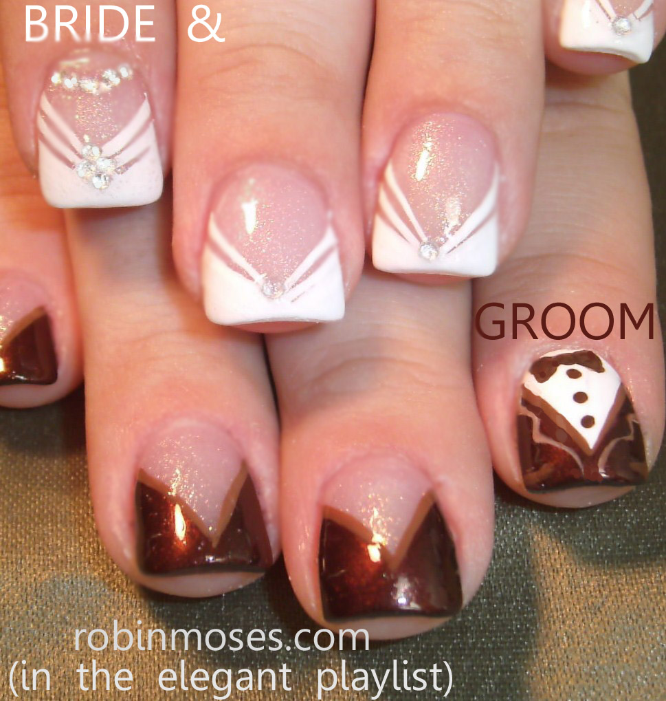 Nail Art by Robin Moses: wedding nails, white butterfly nail ...