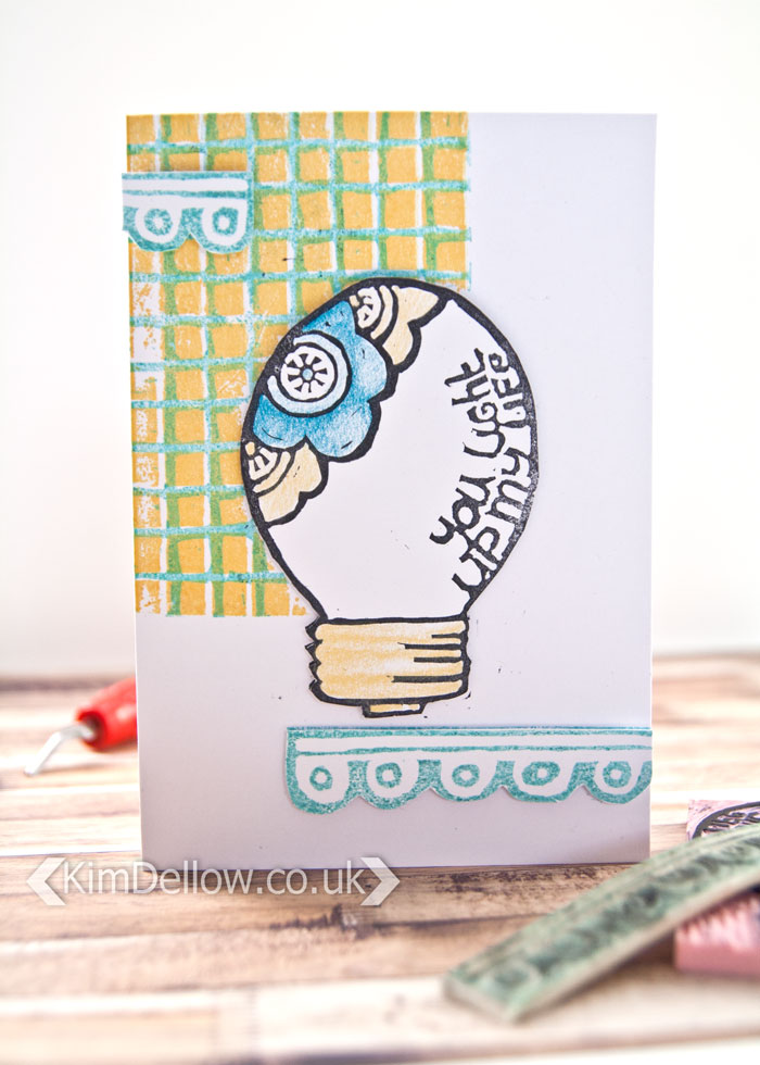 A card using DIY Carved stamps by Kim Dellow