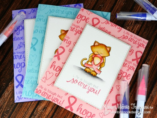 Kitty with Ribbon cards by Nina-Marie Trapani |  Newton's Support stamp set by Newton's Nook Designs #newtonsnook