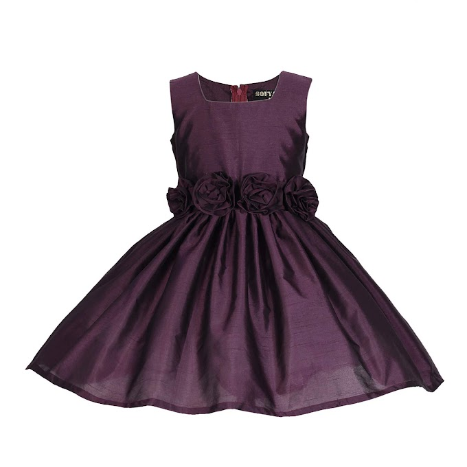 Sofyana Polyester Row Silk Baby Girl's Princess Frocks_S_D_123_Navy Blue